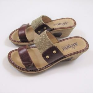 Alegria 37 Slide Sandals Comfort Tan Leather EUC